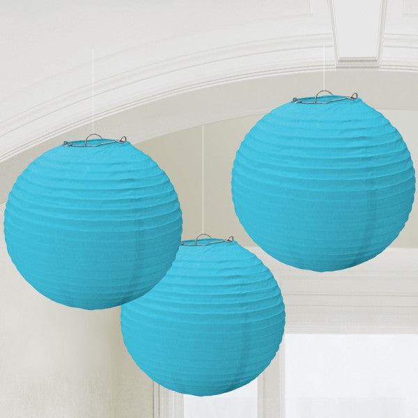 3 x Caribbean Blue Paper Lanterns - The Party Postman