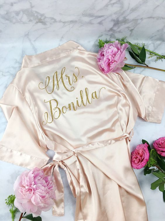 Bright Blue Floral Personalised Bridesmaid / Bridal Robe