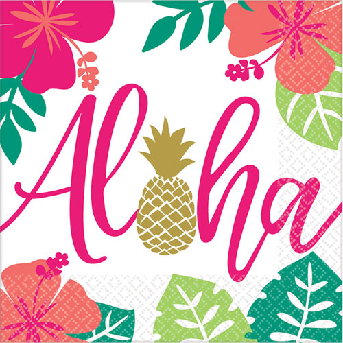 Aloha Tropical Themed Party Napkins