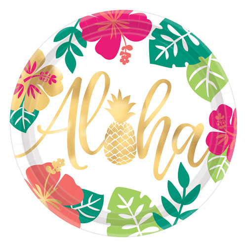 Aloha Tropical Themed Party Plates