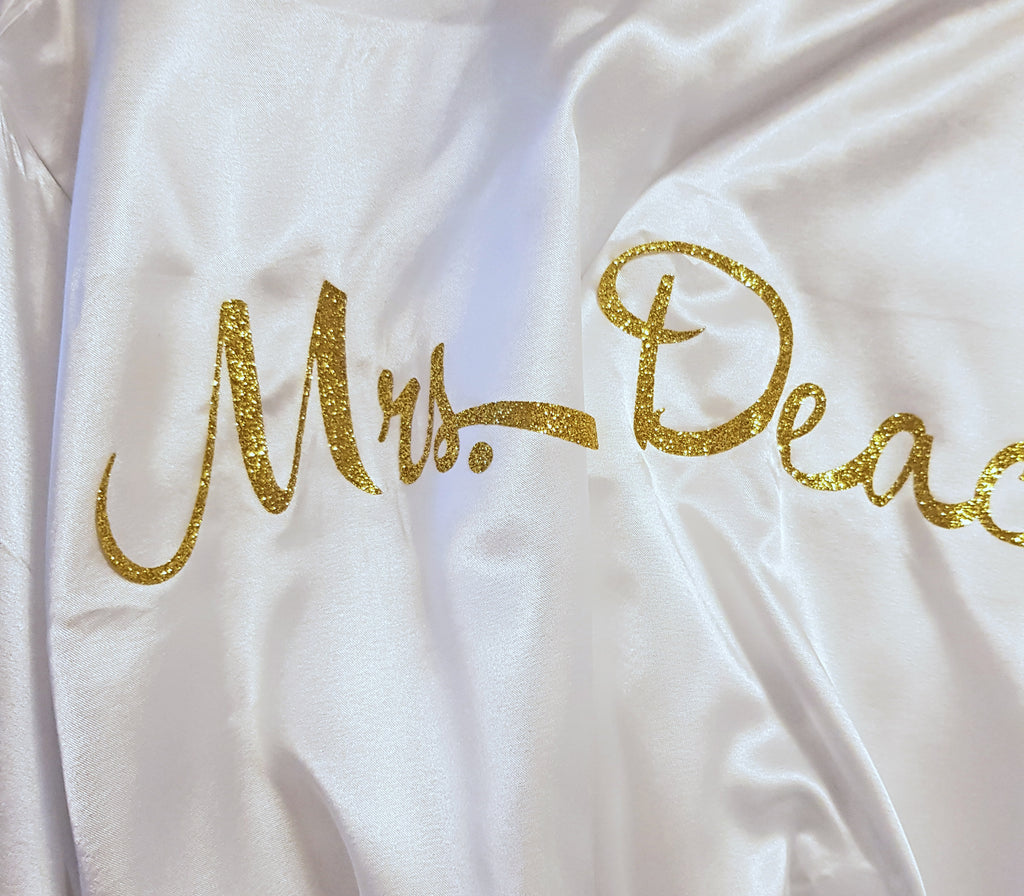 Light Green Floral Personalised Bridesmaid / Bridal Robe