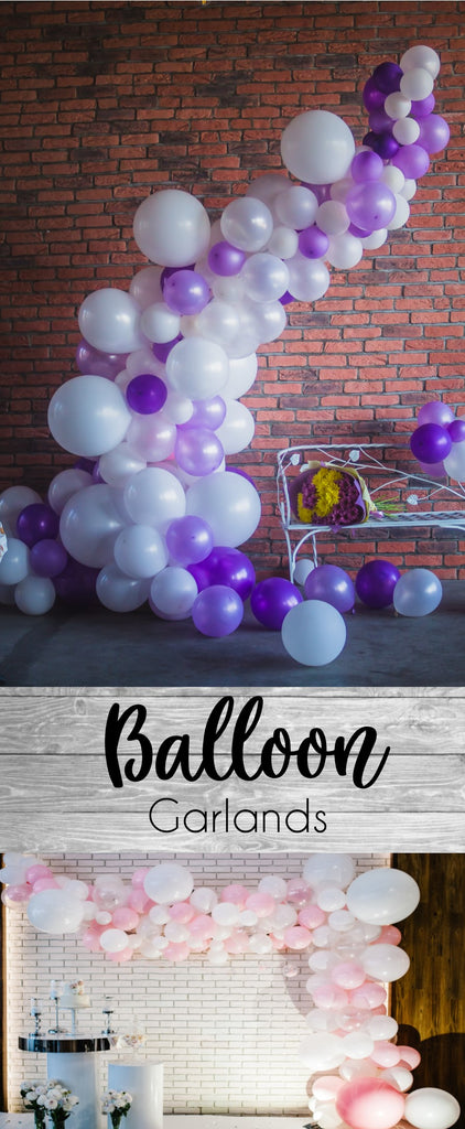 14 Foot Balloon Garland / Arch Purple and white with XL balloons Bachelorette Party Decor, Photo Booth Prop, Balloon Backdrop