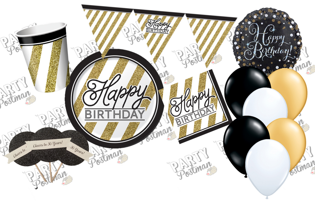 Black, Gold And White Party Decoration Pack and Accessories - The Party Postman