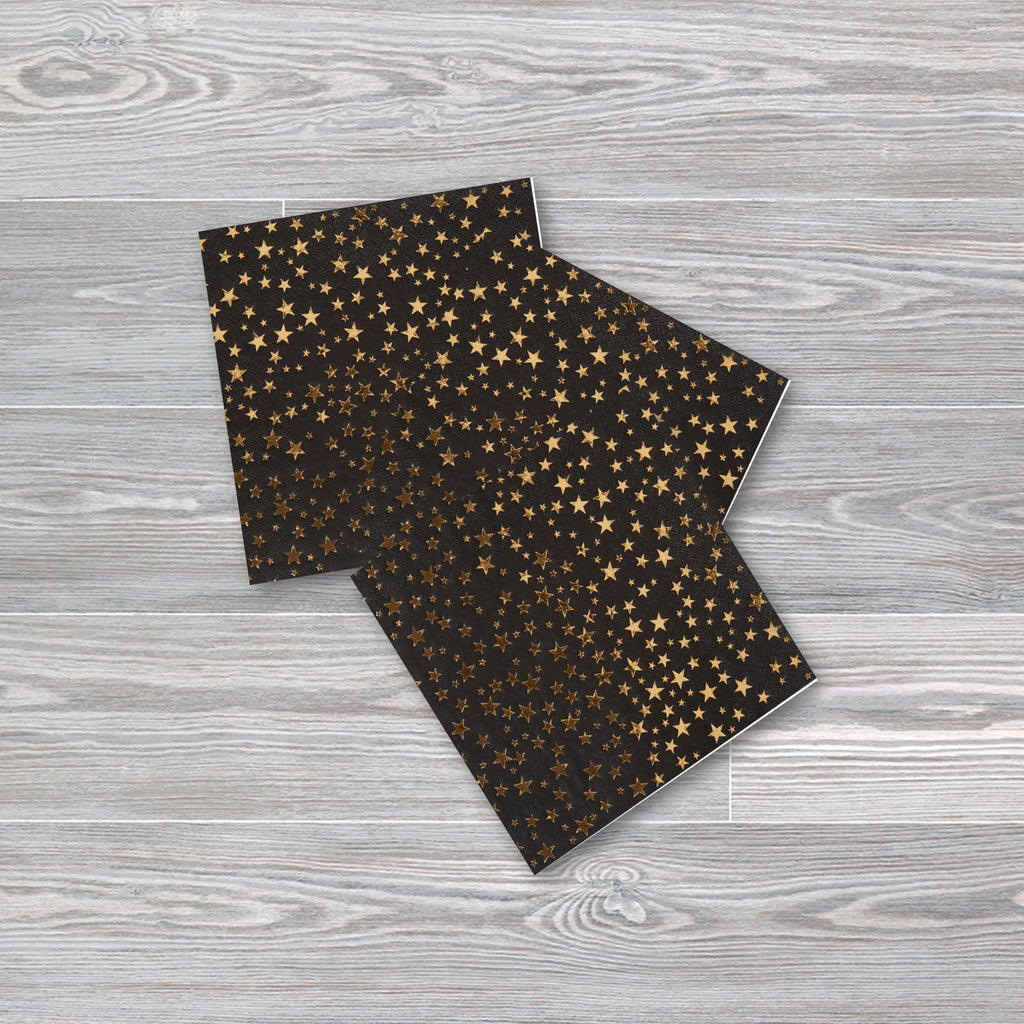 Black and Gold Foiled Star Paper Napkins