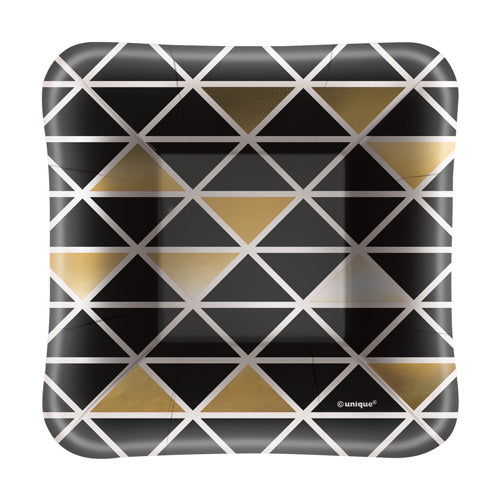 Black, Gold and White Geometric Design Appetizer plates