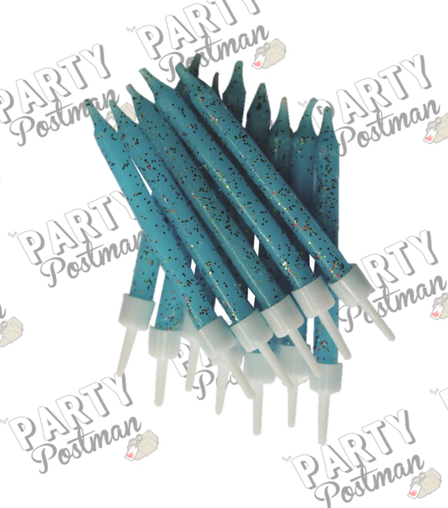 Blue Glitter Party Candles - The Party Postman