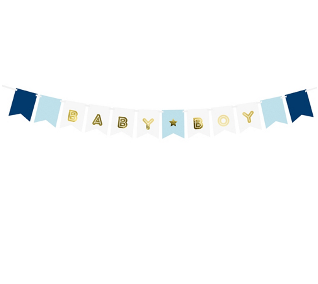 Blue, White and Gold Foil Baby Boy Banner
