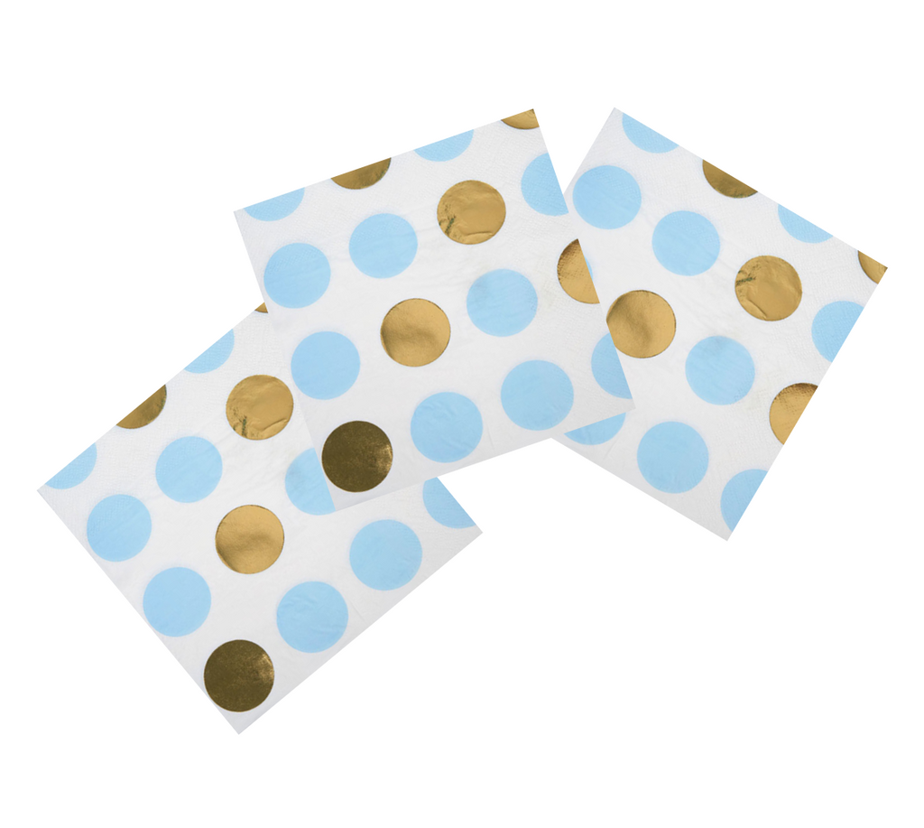 Blue, White and Gold Foil Napkins