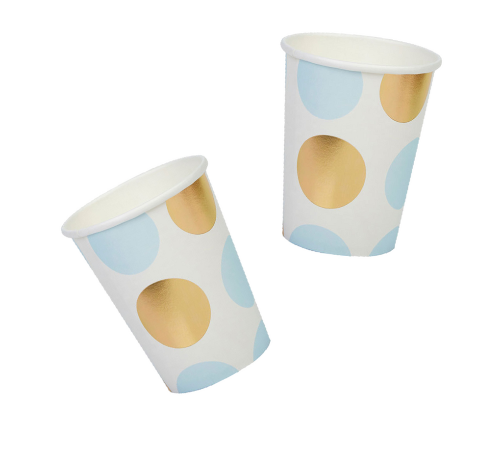 Blue, White and Gold Foil Cups
