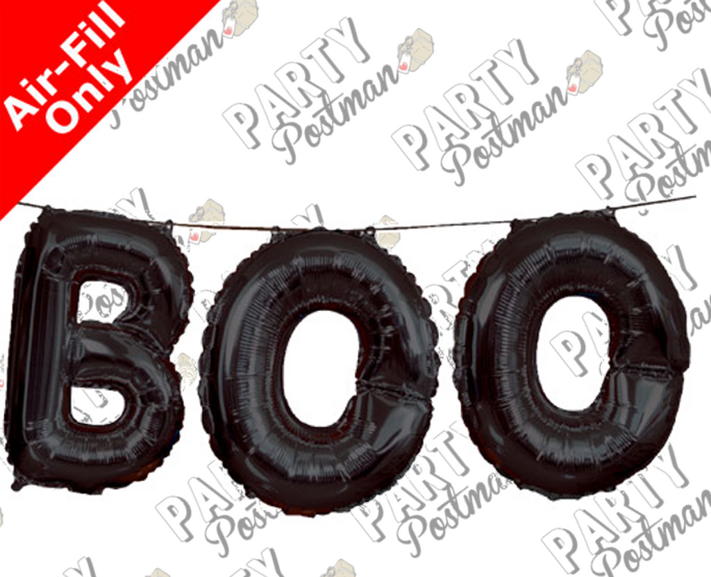 "14"" Black 'Boo' Balloon Banner in Foil Balloons"