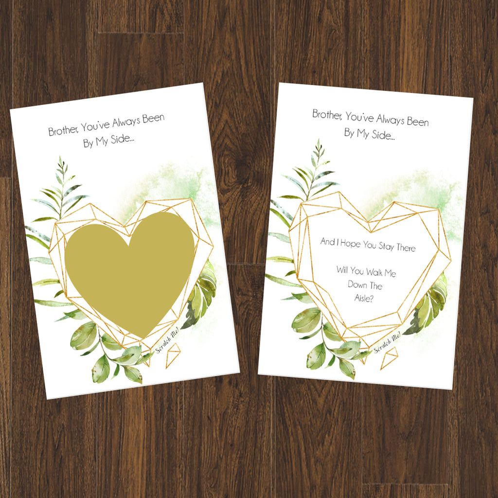 "Scratch off ""Will you walk me down the aisle"" Proposal cards for your brother"