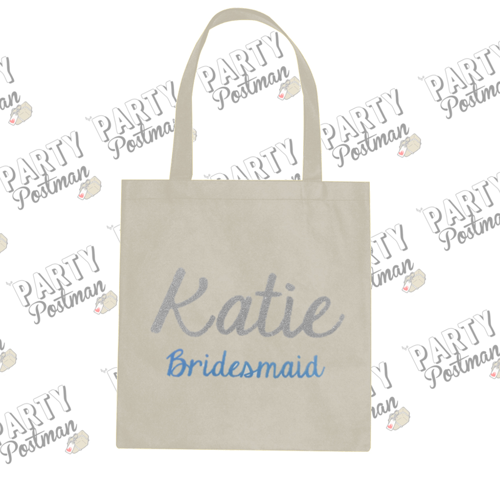 Party Postman Party Totes! Large Personalised Name Bridesmaid Canvas Bag for Gift or Proposal
