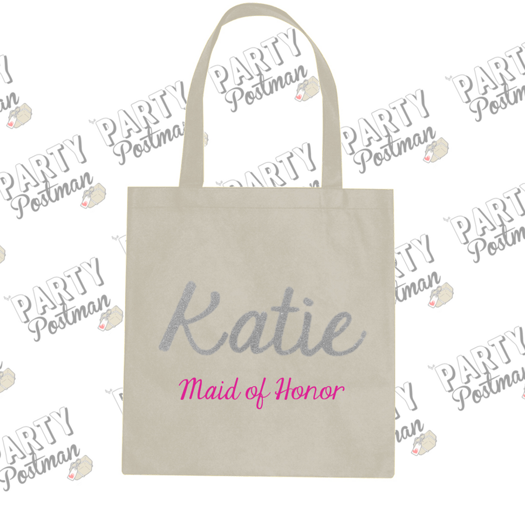 Party Postman Party Totes! Large Personalised Name Maid of Honor Canvas Bag for Gift or Proposal