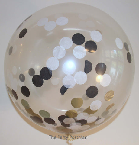 Confetti Filled Giant Round Balloons Gold, White & Black - The Party Postman