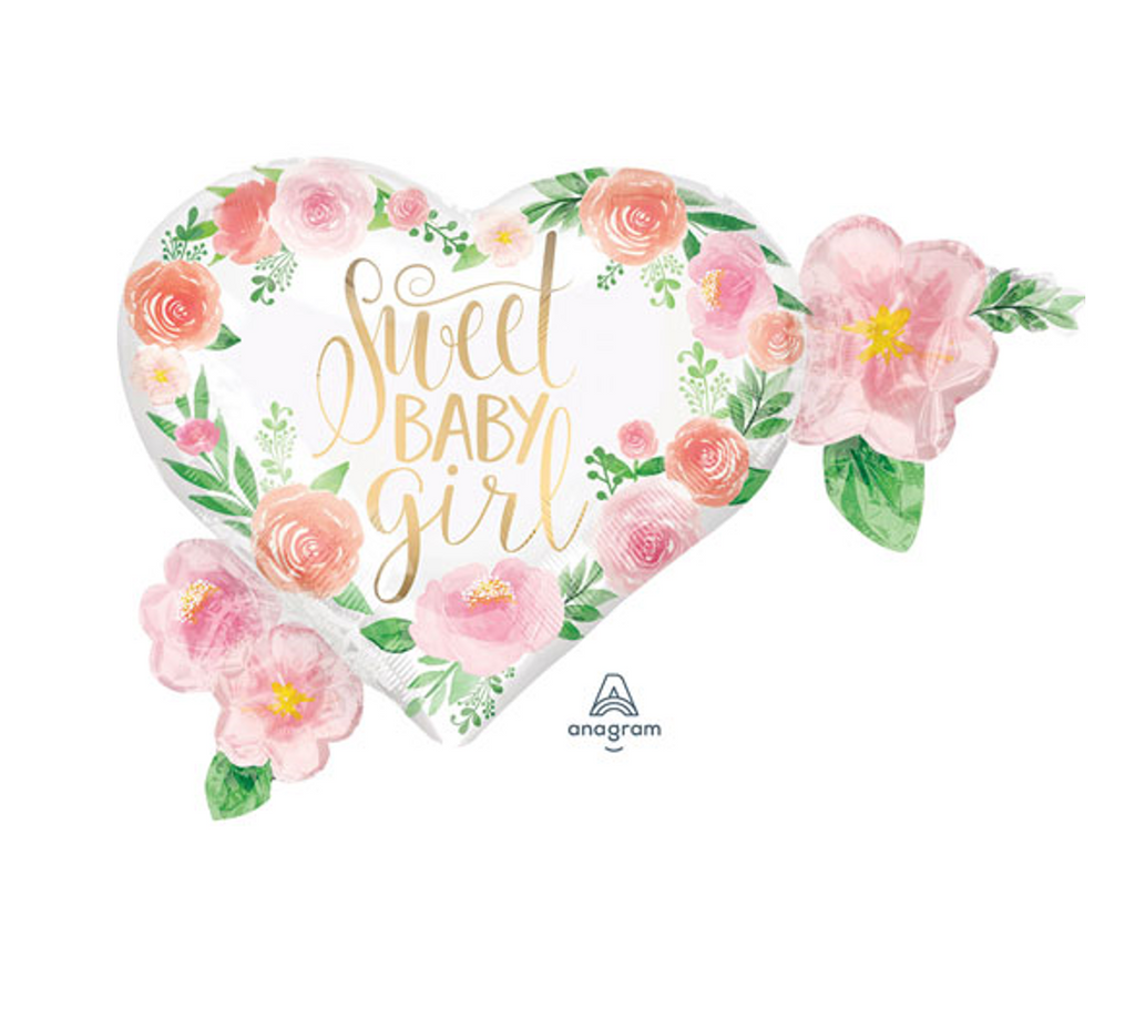 Gold Foil Sweet Baby Floral Foil Balloon