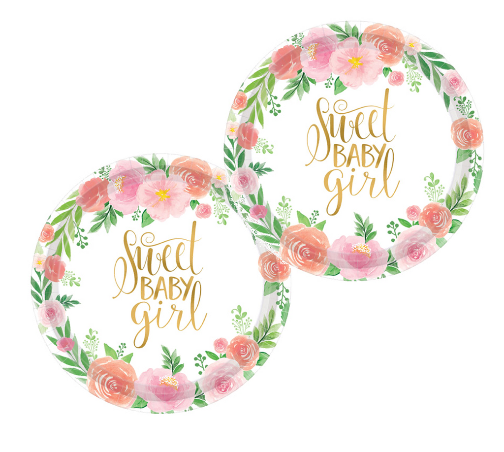 Gold Foil Sweet Baby Floral Plates