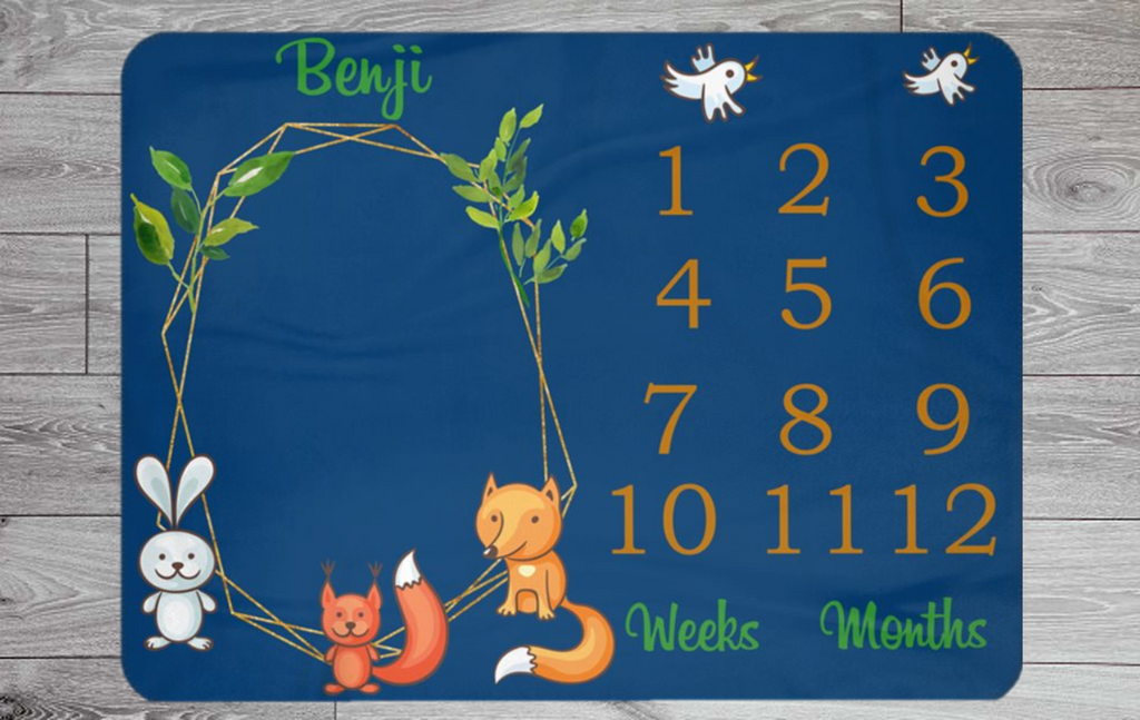 Forest Themed Personalised Weekly & Monthly Baby Blanket Milestone