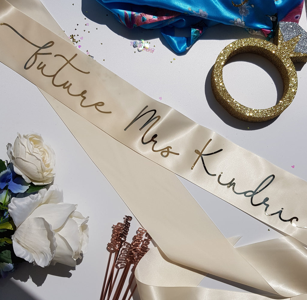 Custom Name Bridesmaid Bridal Party Sashes - Custom Colours and Position!