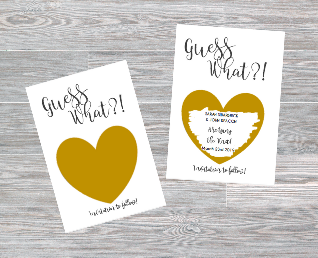 Gold / Silver Heart Scratch off Save The Date for Wedding