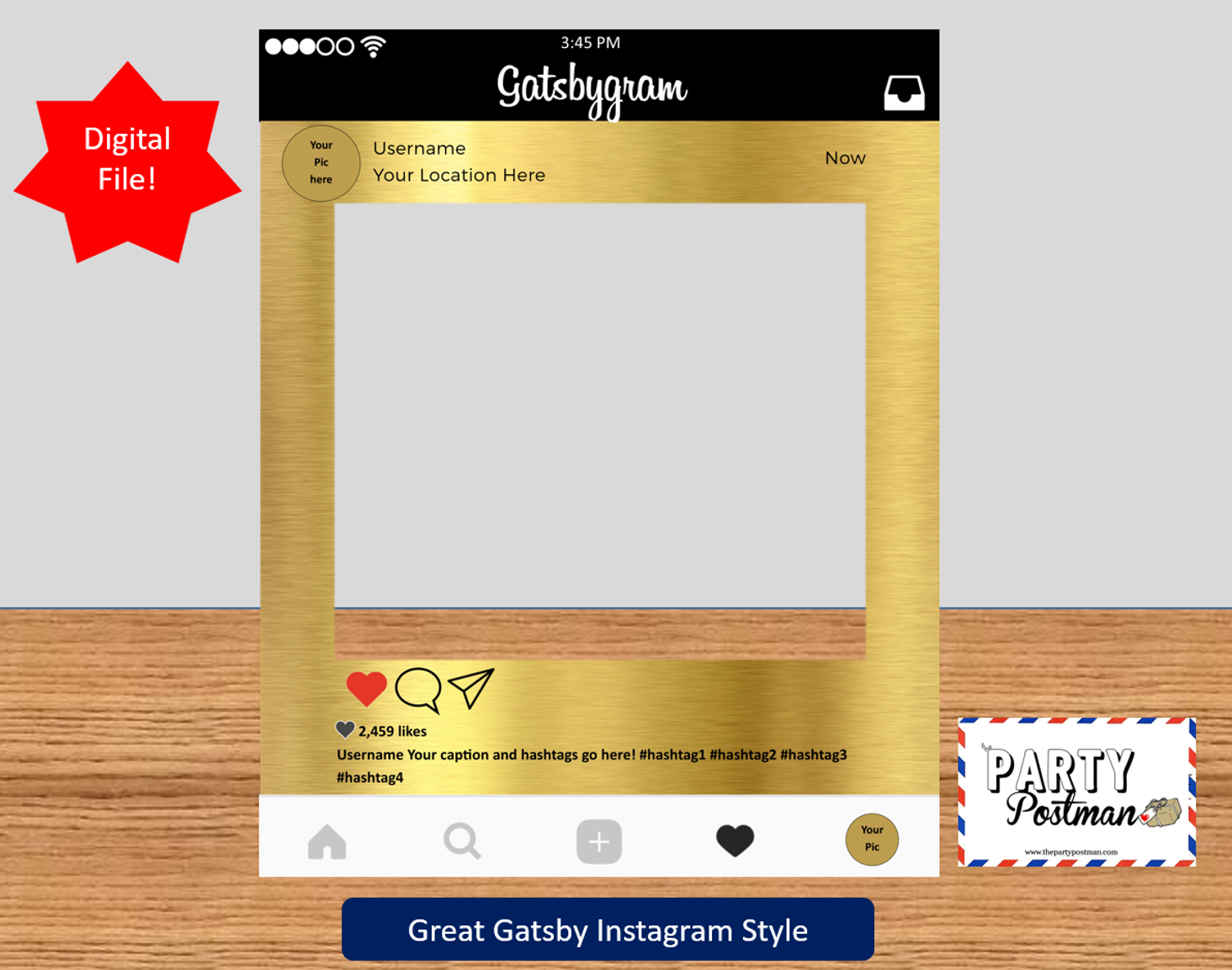 1920s Gold Custom Frame Photo Booth Prop In Instagram Style