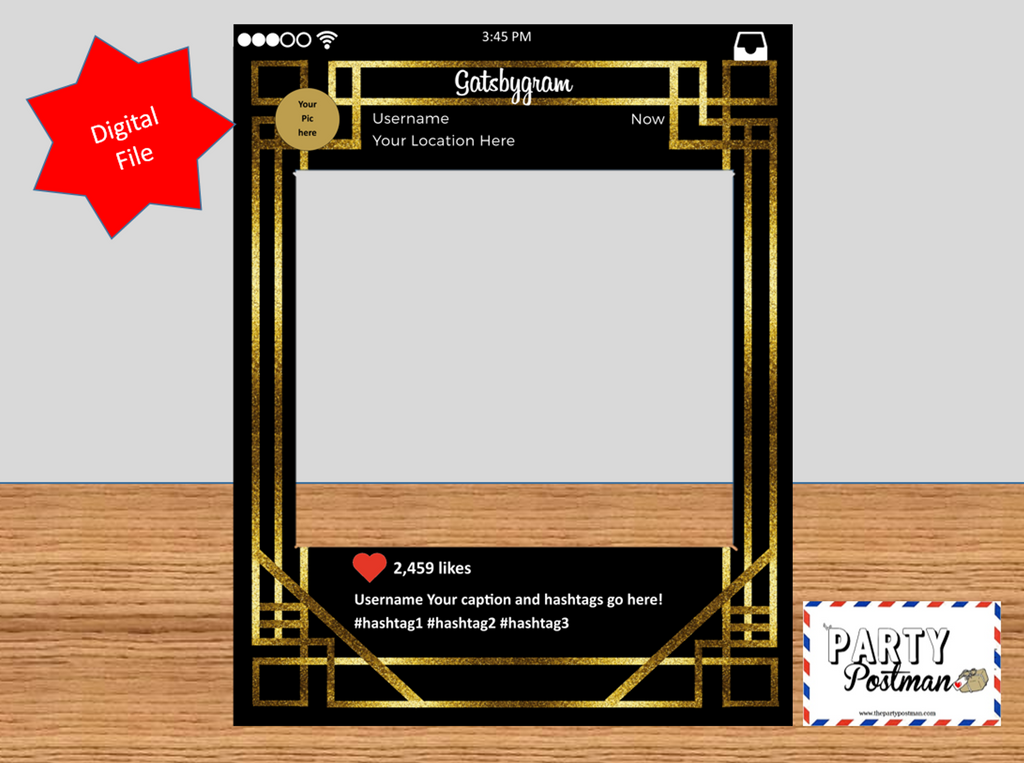1920's Custom Frame Photo Booth Prop in Black Instagram Style (Digital File Only) - The Party Postman