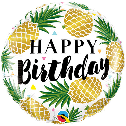 Tropical Happy Birthday Balloon with Pineapples