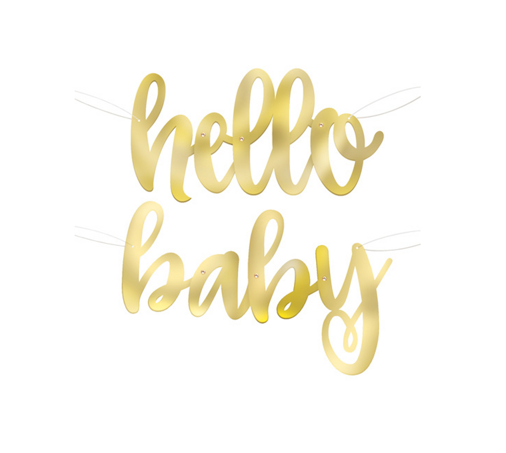Gold Foil Hello Baby Banner