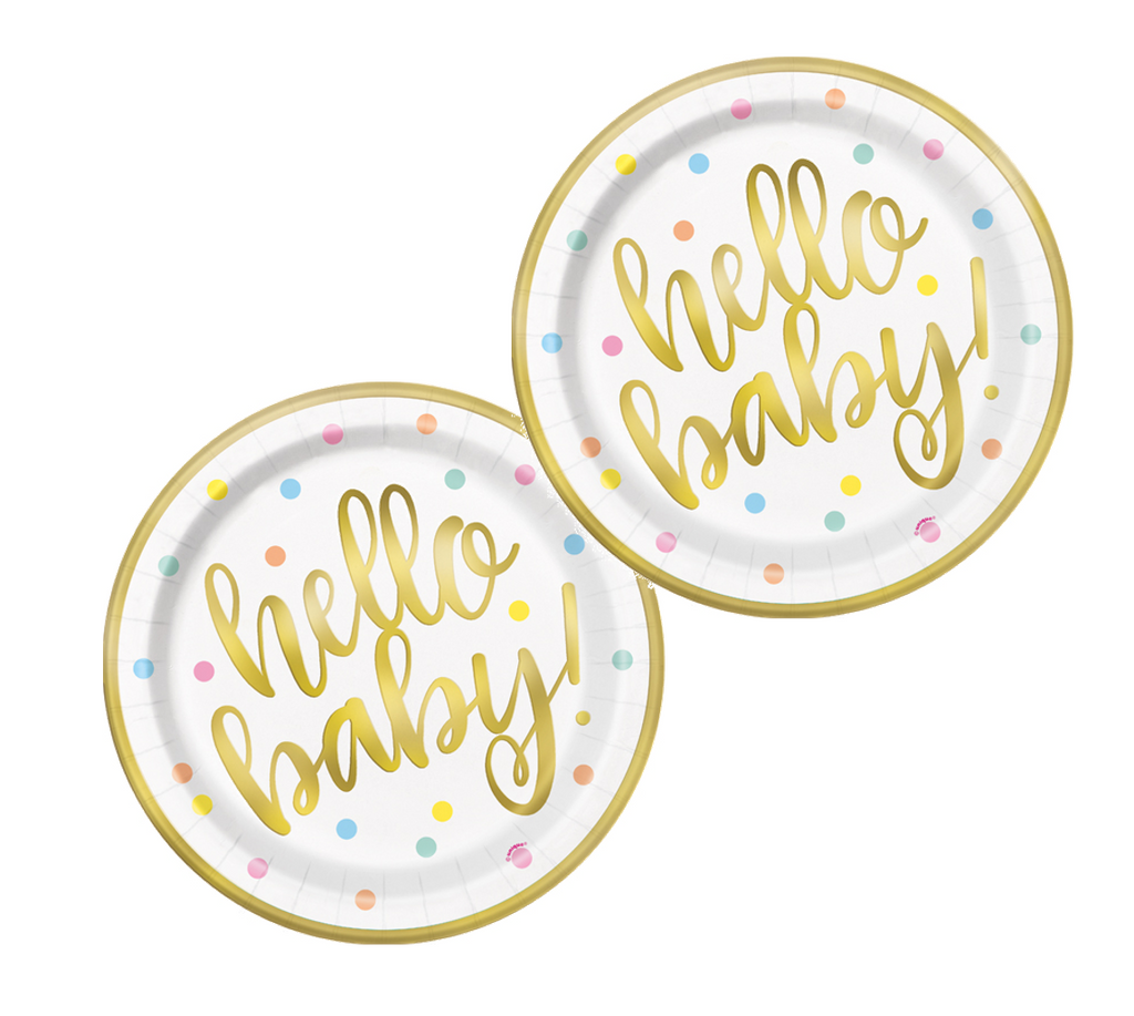 Gold Foil Hello Baby Plates