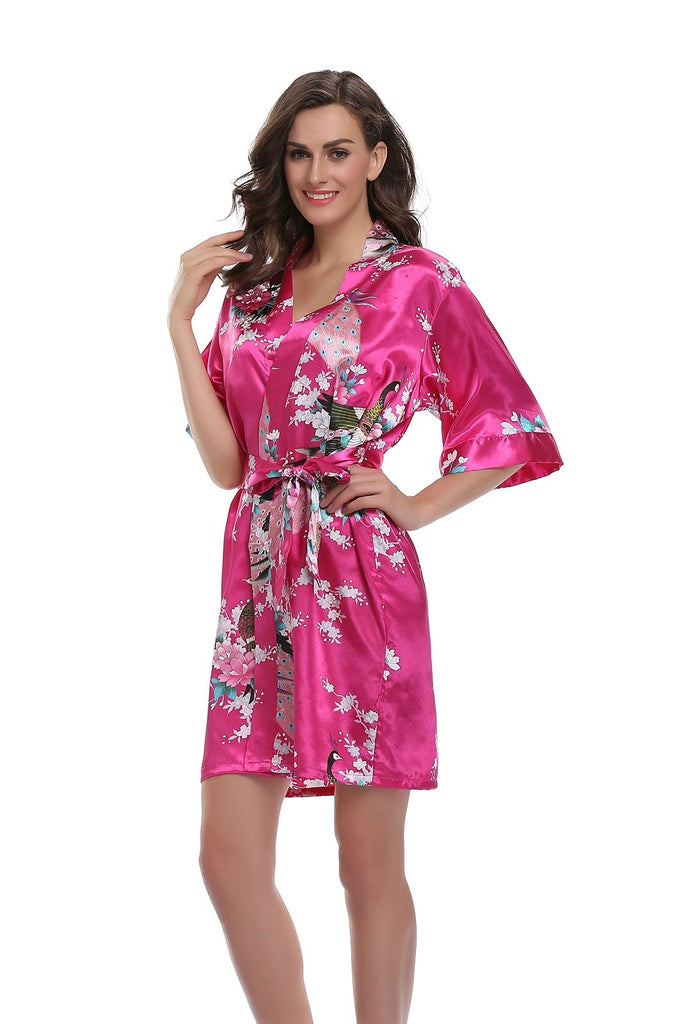 Hot Pink Floral Personalised Bridesmaid / Bridal Robe