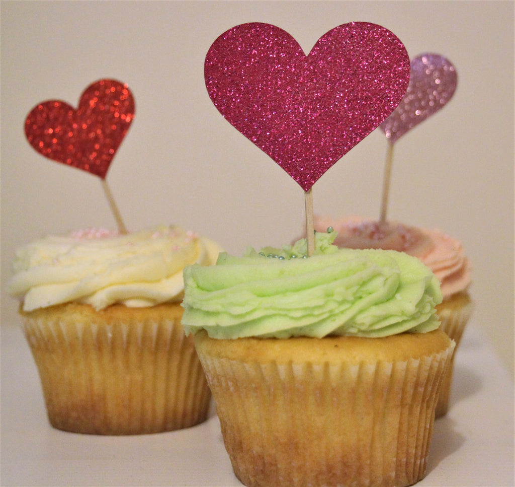 Glitter Heart Cupcake Topper - The Party Postman