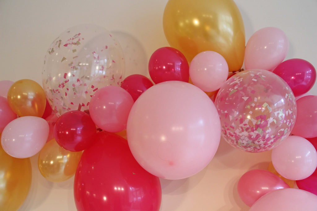 Royal Princess Balloon Garland (Light Pink, Hot Pink & Gold) - The Party Postman