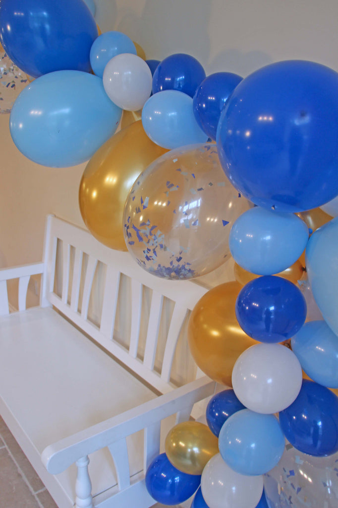 Royal Prince Balloon Garland (Light Blue, Hot Navy & Gold) - The Party Postman