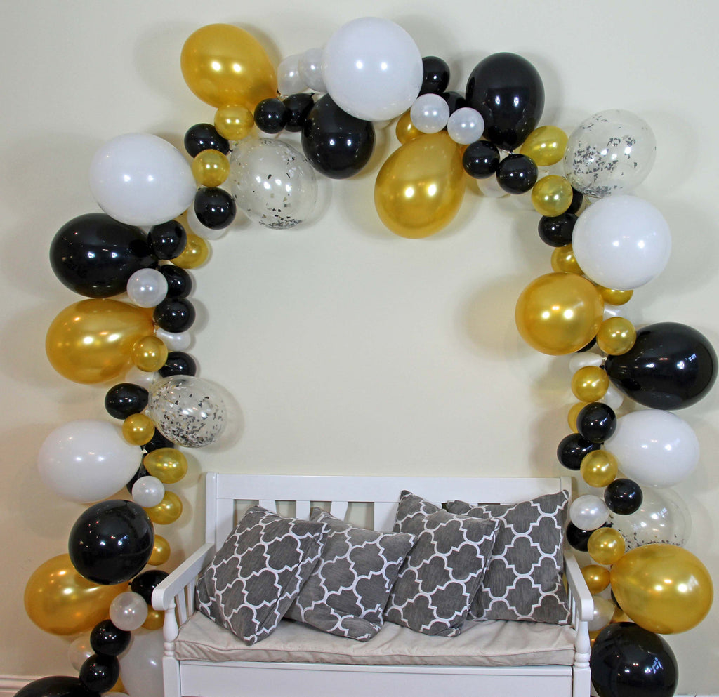 Chic 14ft Balloon Garland (Black, White & Gold) - The Party Postman