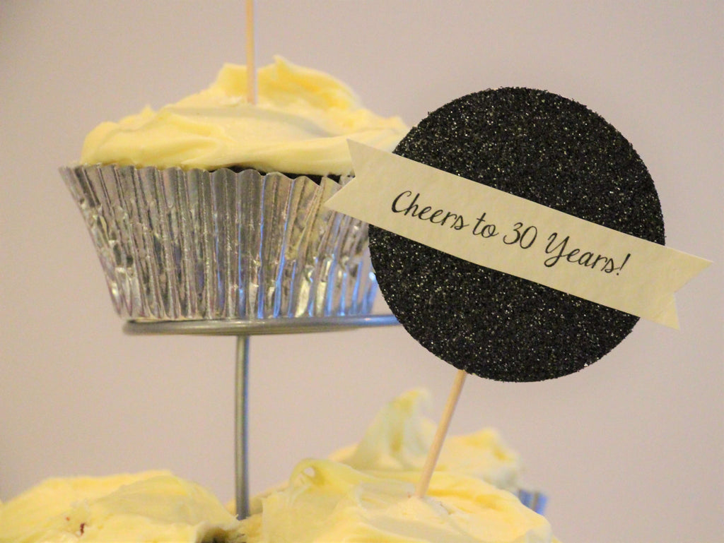 Cheers to the Years Custom Age Cupcake Toppers in Black Gold