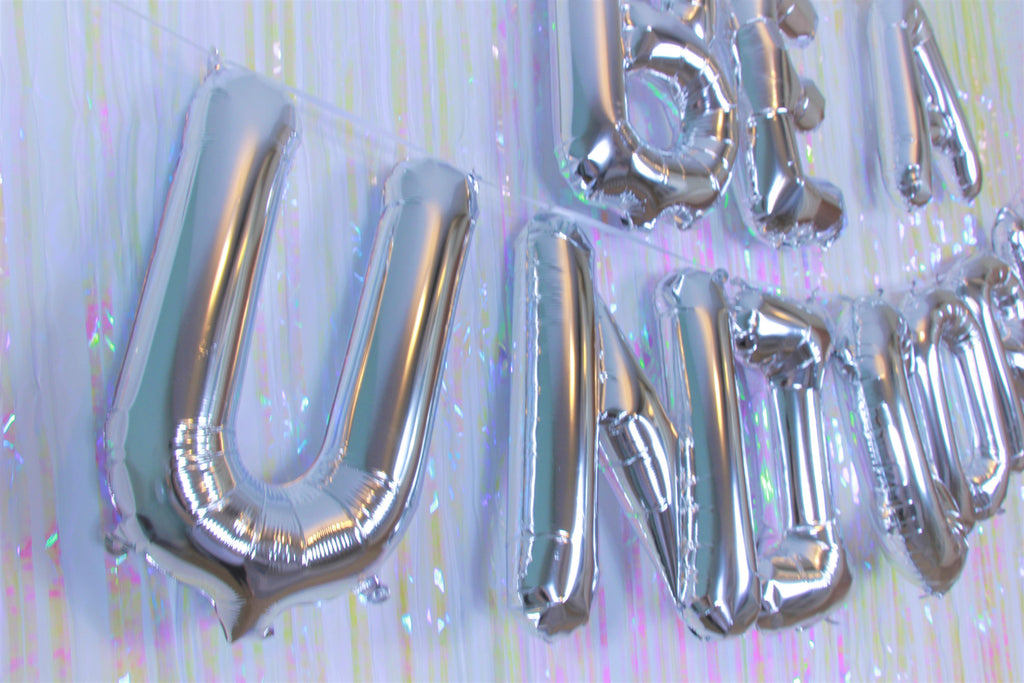 "Be a Unicorn 16"" Air Fill Only Silver Foil Balloons"