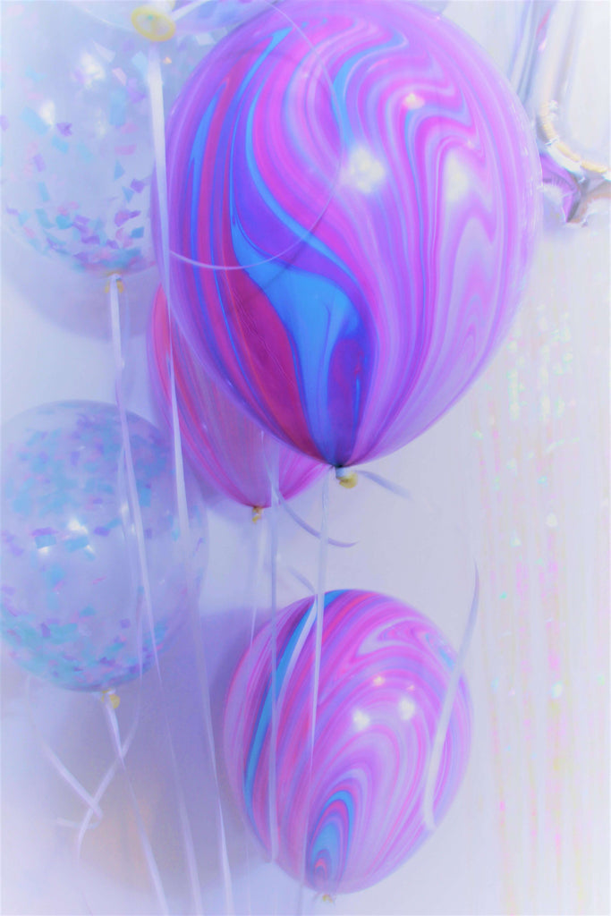 Pastel Confetti and Purple Marble Balloons