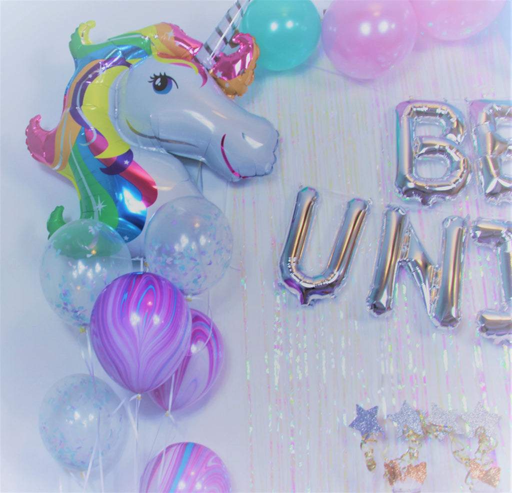 Giant Unicorn Balloon with Rainbow Mane