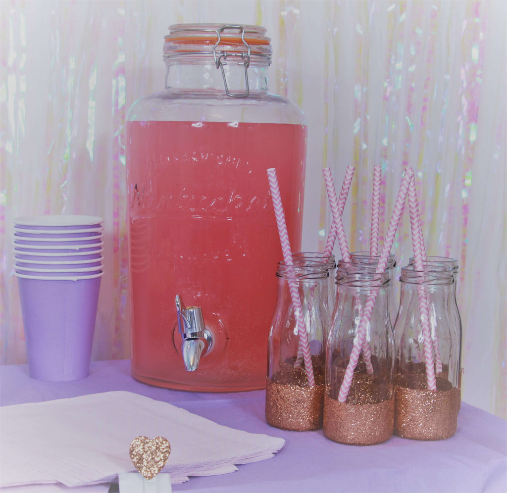 Rose Gold Glitter Milk Bottles