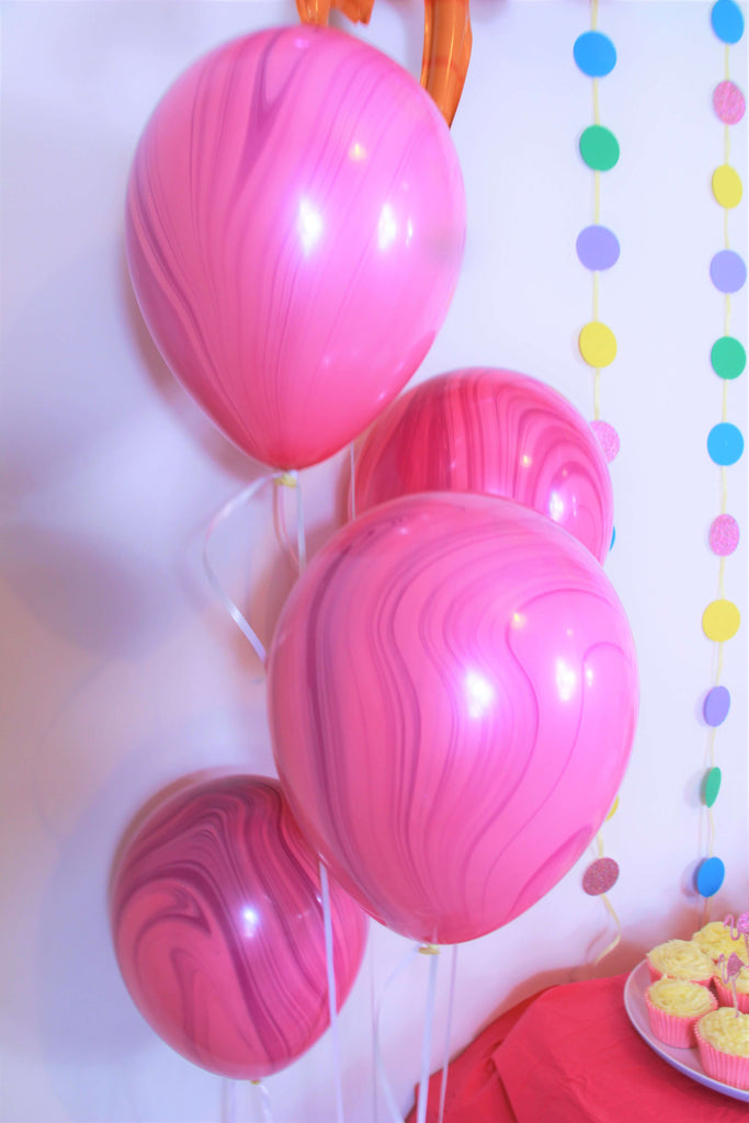 Light Pink and Dark Pink Marble Balloons