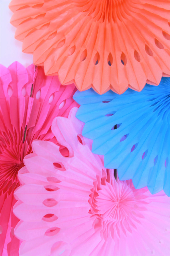 "16"" Light Pink, Coral, Blue, Hot Pink Paper Fans"