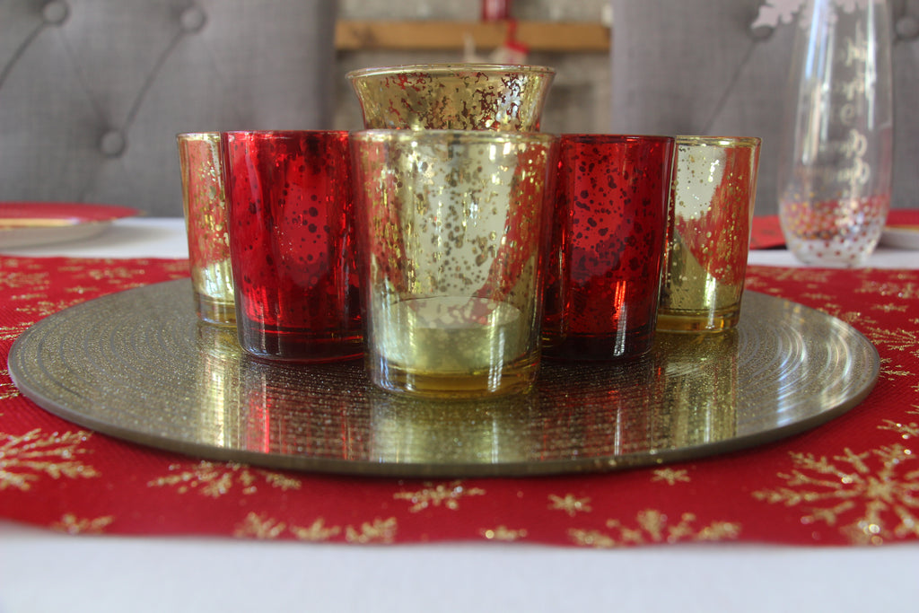 Gold and Red Tea Light Holders
