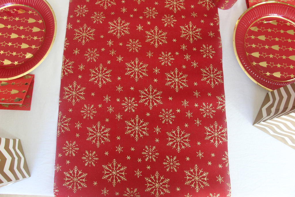 Gold and Red Glitter Snowflake Table Runner for Christmas