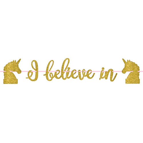 'I Believe in Unicorns' Gold and Pink Party Banner