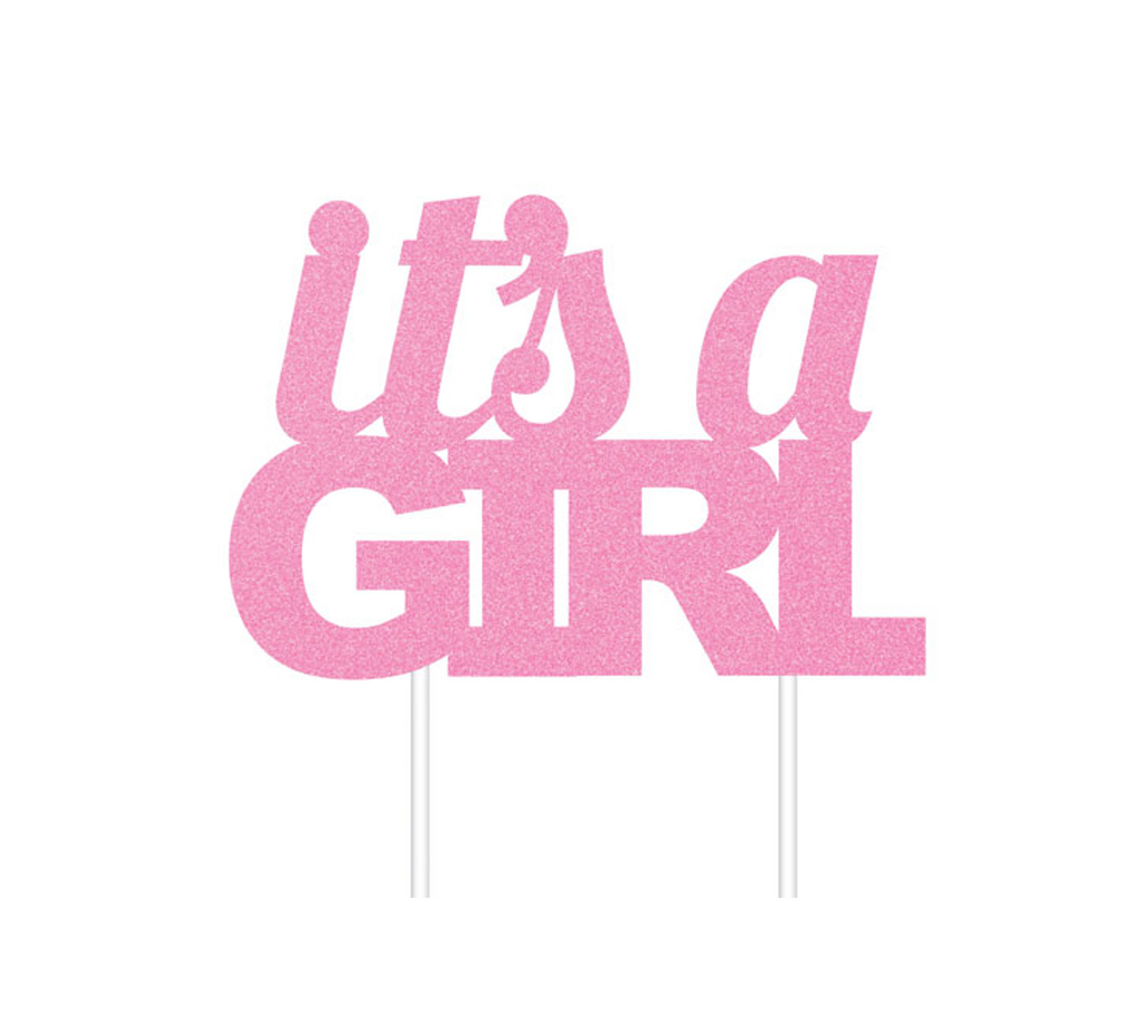Pink Glittered It's a Girl Cake Topper