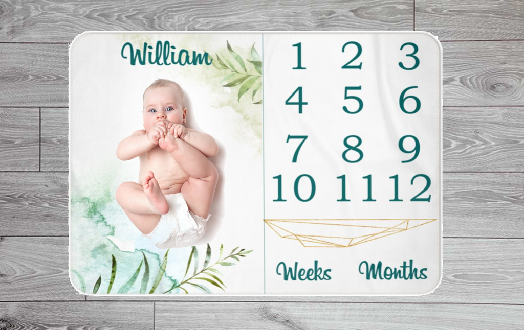 Jungle Themed Weekly & Monthly Baby Blanket Milestone - Personalised