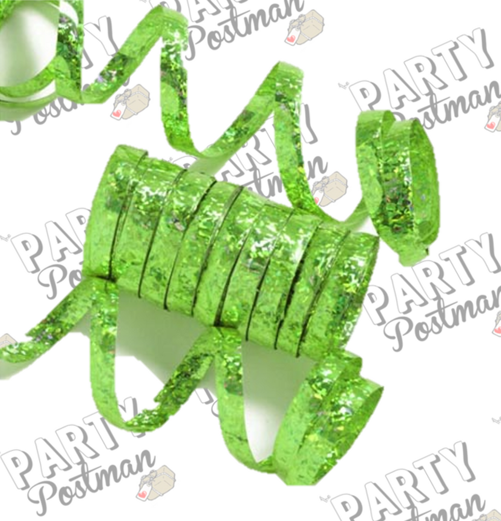 Lime Green Holographic Streamers - 1.9M - The Party Postman