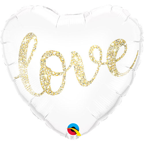 Gold Love Script White Heart Balloon