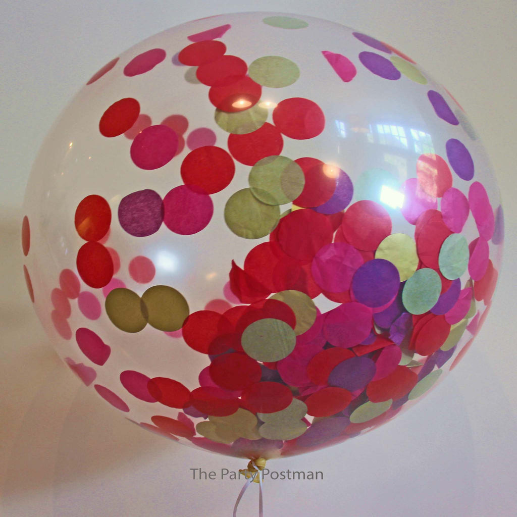 Confetti Filled Giant Round Balloons - Gold, Red, Purple Hot Pink