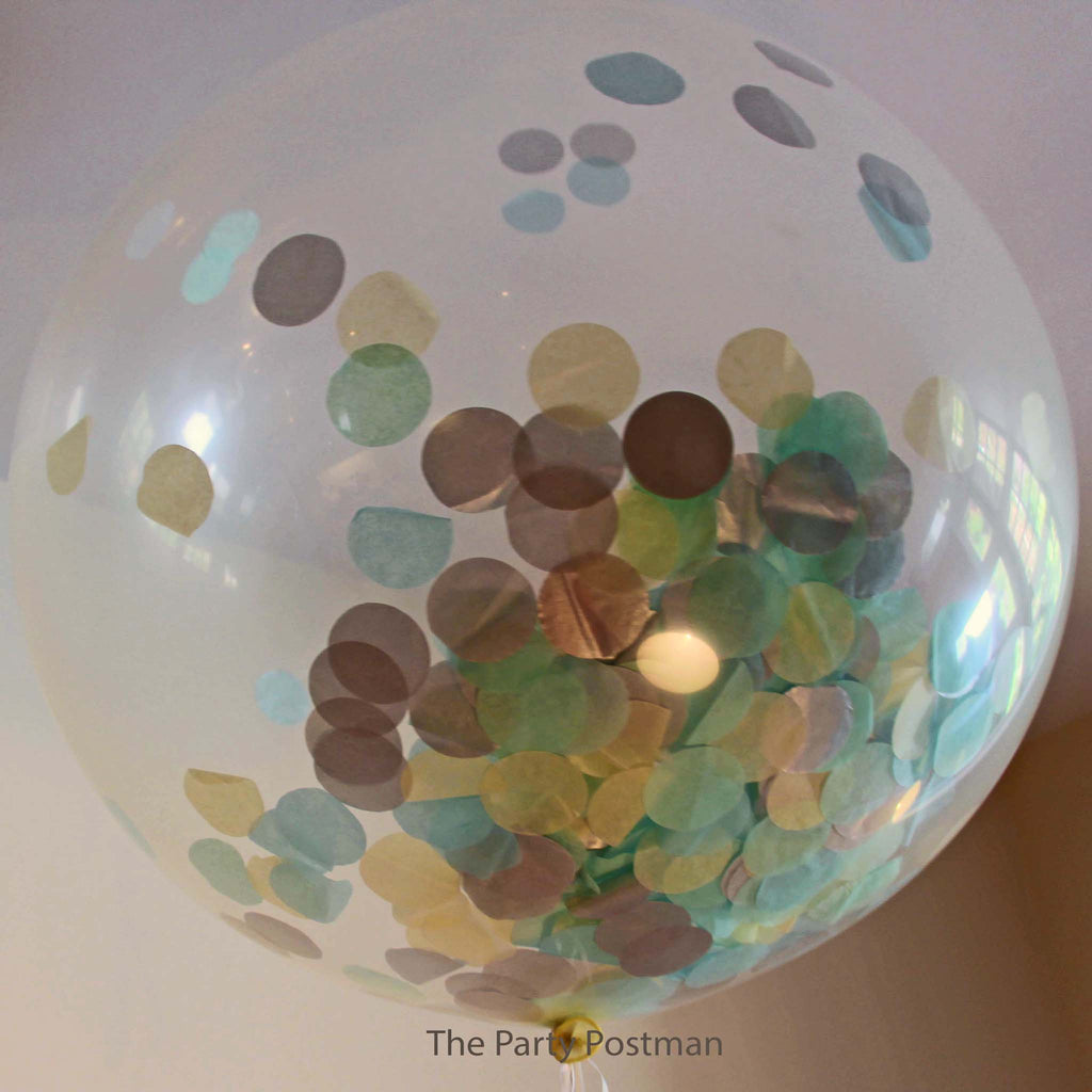 Confetti Filled Giant Round Balloons - Silver, Light Blue & Cream