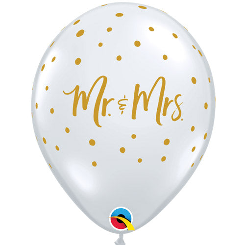 Mr & Mrs Clear Gold Glitter Confetti Balloons - 11 inch